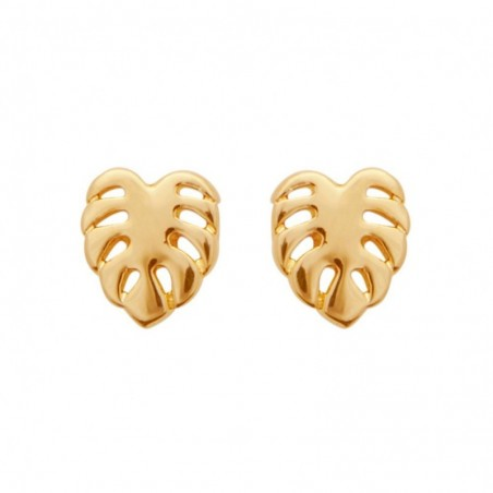 Boucles d'oreilles feuille philodendron monstera Plaqué OR 750 3 microns